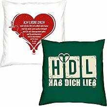 Valentinstagsgeschenk Deko Kissen Set Ich liebe Dich in weiss HDL Hab Dich lieb in dunkelgrün Geschenk für Sie und Ihn Frauen Männer