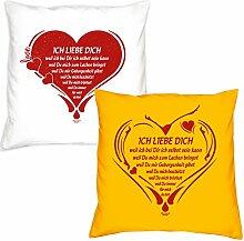 Valentinstagsgeschenk Deko Kissen Set Ich liebe Dich in weiss Ich liebe Dich weil in gelb Geschenk für Sie und Ihn Frauen Männer