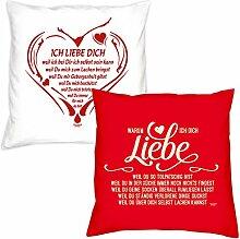 Valentinstagsgeschenk Deko Kissen Set Ich liebe Dich weil in weiss Warum ich Dich liebe in rot Geschenk für Sie und Ihn Frauen Männer