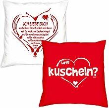 Valentinstagsgeschenk Deko Kissen Set Ich liebe Dich weil in weiss kuscheln in rot Geschenk für Sie und Ihn Frauen Männer