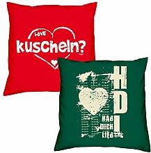 Valentinstagsgeschenk Deko Kissen Set kuscheln in rot Hab Dich lieb in dunkelgrün Geschenk für Sie und Ihn Frauen Männer