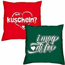 Valentinstagsgeschenk Deko Kissen Set kuscheln in rot I mog di fei in dunkelgrün Geschenk für Sie und Ihn Frauen Männer