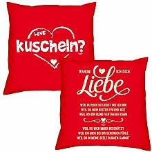 Valentinstagsgeschenk Deko Kissen Set kuscheln in rot Warum ich Dich liebe in rot Geschenk für Sie und Ihn Frauen Männer