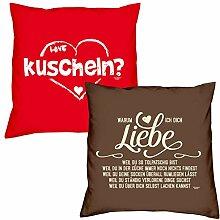 Valentinstagsgeschenk Deko Kissen Set kuscheln in rot Warum ich Dich liebe in braun Geschenk für Sie und Ihn Frauen Männer