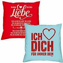 Valentinstagsgeschenk Deko Kissen Set Warum ich Dich liebe in rot Ich liebe Dich in hellblau Geschenk für Sie und Ihn Frauen Männer
