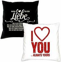 Valentinstagsgeschenk für Sie Ihn Geschenke Set 2 Sofa Kissen mit Füllung Warum ich Dich liebe / I love you