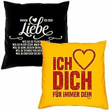 Valentinstagsgeschenk Kissen mit Füllung Warum ich Dich liebe in schwarz Ich liebe Dich in gelb Geschenke Set für Frauen Männer Sie und Ihn