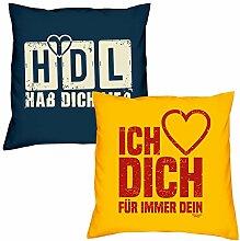 Valentinstagsgeschenk Kissen Sofakissen Set HDL Hab Dich lieb in navy-blau Ich liebe Dich in gelb Geschenk für Frauen Männer Sie und Ihn