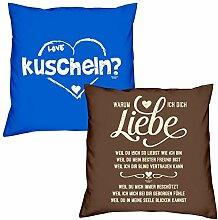 Valentinstagsgeschenk Kissen Sofakissen Set kuscheln in royal-blau Warum ich Dich liebe in braun Geschenk für Frauen Männer Sie und Ihn
