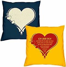 Valentinstagsgeschenk Kissen Sofakissen Set Love Herz in navy-blau Ich liebe Dich in gelb Geschenk für Frauen Männer Sie und Ihn