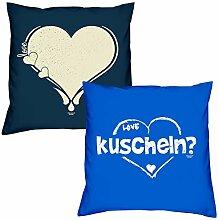 Valentinstagsgeschenk Kissen Sofakissen Set Love Herz in navy-blau kuscheln in royal-blau Geschenk für Frauen Männer Sie und Ihn