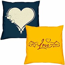 Valentinstagsgeschenk Kissen Sofakissen Set Love Herz in navy-blau Love in gelb Geschenk für Frauen Männer Sie und Ihn