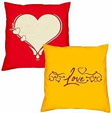Valentinstagsgeschenk Kissen Sofakissen Set Love Herz in rot Love in gelb Geschenk für Frauen Männer Sie und Ihn