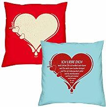 Valentinstagsgeschenk Kissen Sofakissen Set Love Herz in rot Ich liebe Dich in hellblau Geschenk für Frauen Männer Sie und Ihn