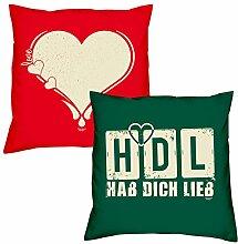 Valentinstagsgeschenk Kissen Sofakissen Set Love Herz in rot HDL Hab Dich lieb in dunkelgrün Geschenk für Frauen Männer Sie und Ihn