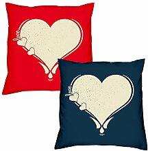 Valentinstagsgeschenk Kissen Sofakissen Set Love Herz in rot Love Herz in navy-blau Geschenk für Frauen Männer Sie und Ihn