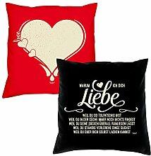 Valentinstagsgeschenk Kissen Sofakissen Set Love Herz in rot Warum ich Dich liebe in schwarz Geschenk für Frauen Männer Sie und Ihn