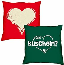Valentinstagsgeschenk Kissen Sofakissen Set Love Herz in rot kuscheln in dunkelgrün Geschenk für Frauen Männer Sie und Ihn