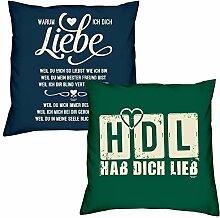 Valentinstagsgeschenk Kissen Sofakissen Set Warum ich Dich liebe in navy-blau HDL Hab Dich lieb in dunkelgrün Geschenk für Frauen Männer Sie und Ihn