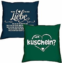 Valentinstagsgeschenk Kissen Sofakissen Set Warum ich Dich liebe in navy-blau kuscheln in dunkelgrün Geschenk für Frauen Männer Sie und Ihn