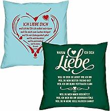 Valentinstagsgeschenk Sofa Kissen Ich liebe Dich weil in hellblau Warum ich Dich liebe in dunkelgrün Geschenke Set für Frauen Männer Sie und Ihn