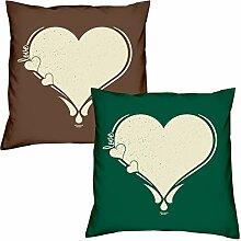 Valentinstagsgeschenk Sofa Kissen Love Herz in braun Love Herz in dunkelgrün Geschenke Set für Frauen Männer Sie und Ihn