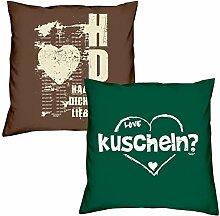 Valentinstagsgeschenk Sofa Kissen Set Hab Dich lieb in braun kuscheln in dunkelgrün Geschenk für Frauen Männer Sie und Ihn