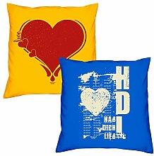 Valentinstagsgeschenk Sofa Kissen Set Herz in gelb Hab Dich lieb in royal-blau Geschenk für Frauen Männer Sie und Ihn