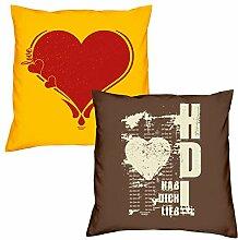 Valentinstagsgeschenk Sofa Kissen Set Herz in gelb Hab Dich lieb in braun Geschenk für Frauen Männer Sie und Ihn