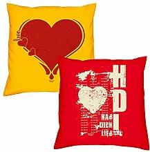 Valentinstagsgeschenk Sofa Kissen Set Herz in gelb Hab Dich lieb in rot Geschenk für Frauen Männer Sie und Ihn