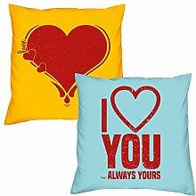 Valentinstagsgeschenk Sofa Kissen Set Herz in gelb I love you in hellblau Geschenk für Frauen Männer Sie und Ihn