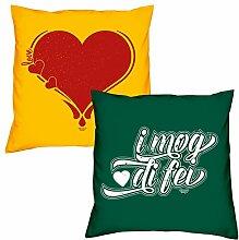 Valentinstagsgeschenk Sofa Kissen Set Herz in gelb I mog di fei in dunkelgrün Geschenk für Frauen Männer Sie und Ihn