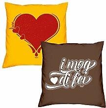 Valentinstagsgeschenk Sofa Kissen Set Herz in gelb I mog di fei in braun Geschenk für Frauen Männer Sie und Ihn
