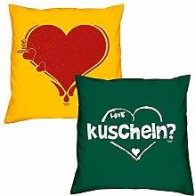 Valentinstagsgeschenk Sofa Kissen Set Herz in gelb kuscheln in dunkelgrün Geschenk für Frauen Männer Sie und Ihn