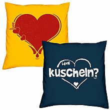 Valentinstagsgeschenk Sofa Kissen Set Herz in gelb kuscheln in navy-blau Geschenk für Frauen Männer Sie und Ihn