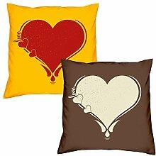 Valentinstagsgeschenk Sofa Kissen Set Herz in gelb Love Herz in braun Geschenk für Frauen Männer Sie und Ihn