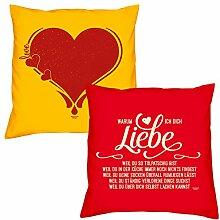 Valentinstagsgeschenk Sofa Kissen Set Herz in gelb Warum ich Dich liebe in rot Geschenk für Frauen Männer Sie und Ihn