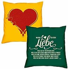 Valentinstagsgeschenk Sofa Kissen Set Herz in gelb Warum ich Dich liebe in dunkelgrün Geschenk für Frauen Männer Sie und Ihn