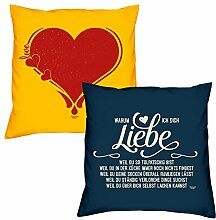 Valentinstagsgeschenk Sofa Kissen Set Herz in gelb Warum ich Dich liebe in navy-blau Geschenk für Frauen Männer Sie und Ihn