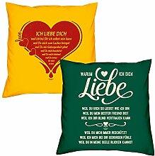Valentinstagsgeschenk Sofa Kissen Set Ich liebe Dich in gelb Warum ich Dich liebe in dunkelgrün Geschenk für Frauen Männer Sie und Ihn