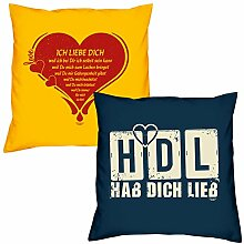 Valentinstagsgeschenk Sofa Kissen Set Ich liebe Dich in gelb HDL Hab Dich lieb in navy-blau Geschenk für Frauen Männer Sie und Ihn