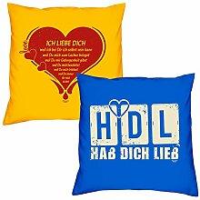 Valentinstagsgeschenk Sofa Kissen Set Ich liebe Dich in gelb HDL Hab Dich lieb in royal-blau Geschenk für Frauen Männer Sie und Ihn