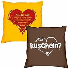 Valentinstagsgeschenk Sofa Kissen Set Ich liebe Dich in gelb kuscheln in braun Geschenk für Frauen Männer Sie und Ihn