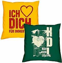 Valentinstagsgeschenk Sofa Kissen Set Ich liebe Dich in gelb Hab Dich lieb in dunkelgrün Geschenk für Frauen Männer Sie und Ihn