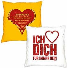 Valentinstagsgeschenk Sofa Kissen Set Ich liebe Dich in gelb Ich liebe Dich in weiss Geschenk für Frauen Männer Sie und Ihn
