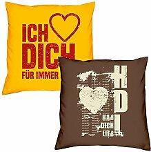 Valentinstagsgeschenk Sofa Kissen Set Ich liebe Dich in gelb Hab Dich lieb in braun Geschenk für Frauen Männer Sie und Ihn