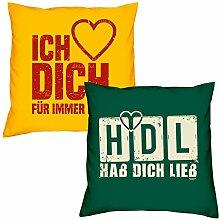 Valentinstagsgeschenk Sofa Kissen Set Ich liebe Dich in gelb HDL Hab Dich lieb in dunkelgrün Geschenk für Frauen Männer Sie und Ihn