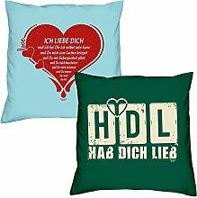 Valentinstagsgeschenk Sofa Kissen Set Ich liebe Dich in hellblau HDL Hab Dich lieb in dunkelgrün Geschenk für Frauen Männer Sie und Ihn