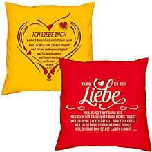 Valentinstagsgeschenk Sofa Kissen Set Ich liebe Dich weil in gelb Warum ich Dich liebe in rot Geschenk für Frauen Männer Sie und Ihn