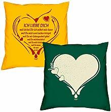 Valentinstagsgeschenk Sofa Kissen Set Ich liebe Dich weil in gelb Love Herz in dunkelgrün Geschenk für Frauen Männer Sie und Ihn